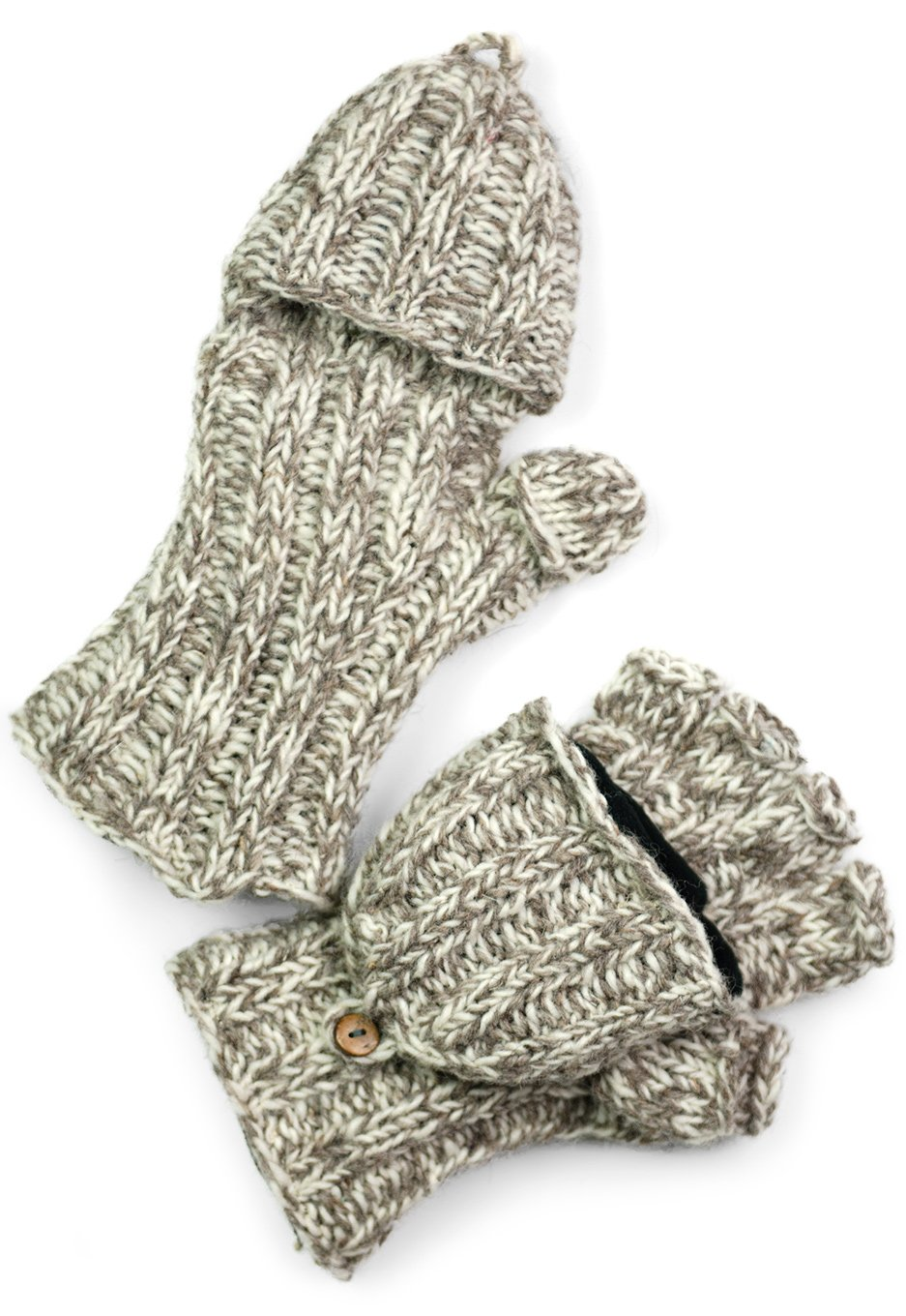 TCG Men's Hand Knit Wool Glittens - Taupe & Cream