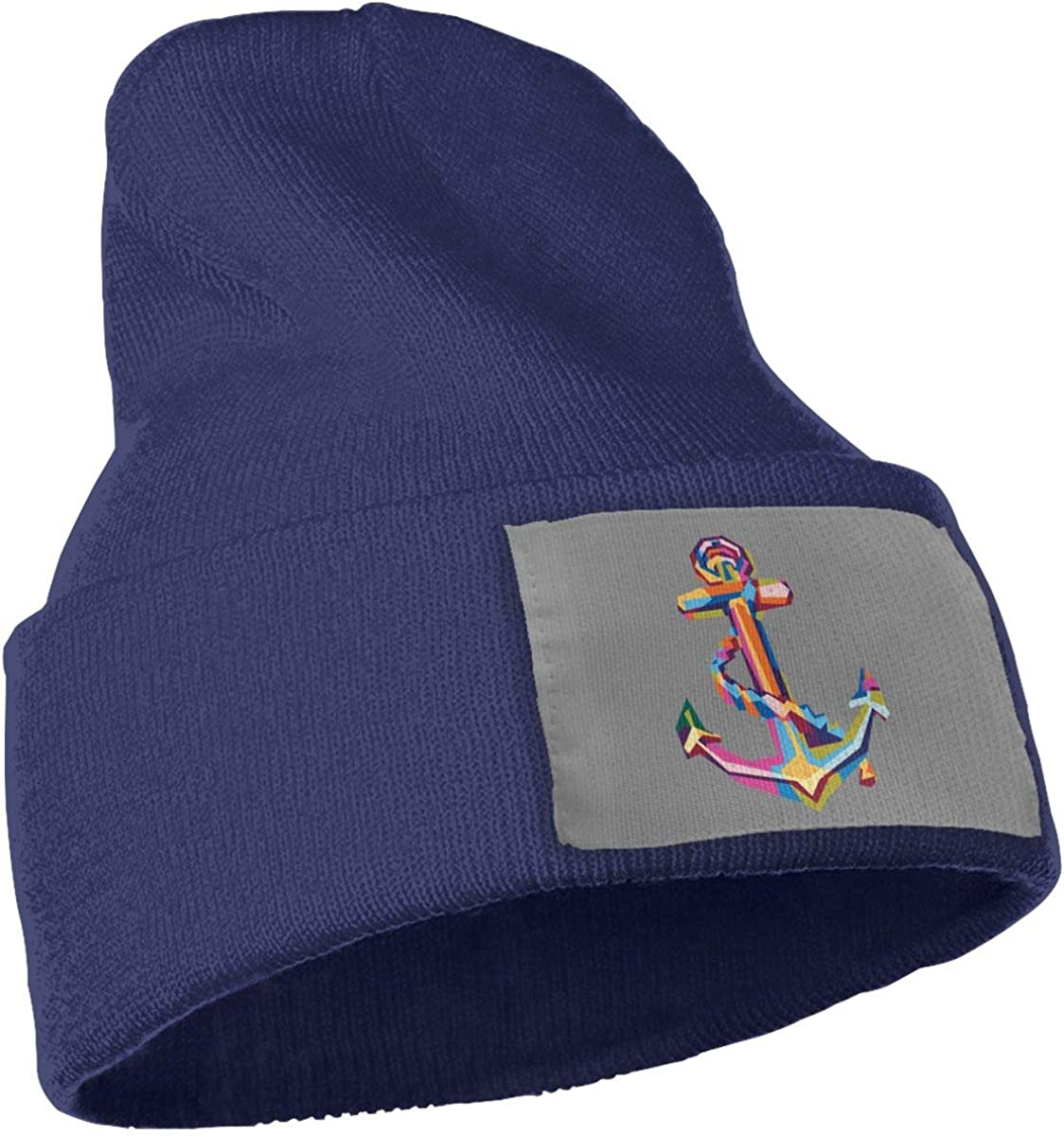 Colorful Anchor Wool Cap Skull Cap Unisex Winter Navy
