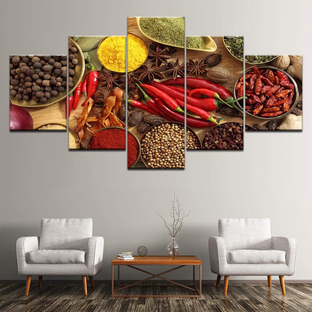ZhuJingGege Cuadro Moderno En Lienzo 5 Piezas Cereales Sal/ón Moderno Impresiones En HD Lonas De Imprimir Giclee Artwork Decoraci/ón 100Cmx55Cm