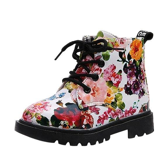YanHoo Zapatos para niños Niñas Moda Floral Zapatos para niños Bebé Botas Casual Niños Botas Antideslizante Botas Infantiles de otoño Zapatos Escolares para ...