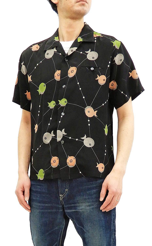 Star of Hollywood Men's 50's Style Short Sleeve Shirt 50s Atomic Fish SH38128 Black Tagged Japan XL (US L-XL)