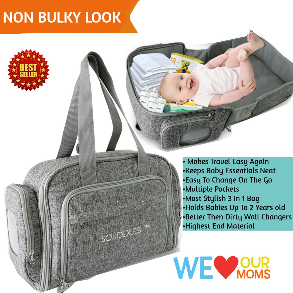 3 in 1 Portable Foldable Bassinet Travel Bed for Baby Functions As Both A Bassinet and Diaper Bag Changing Station Scuddles