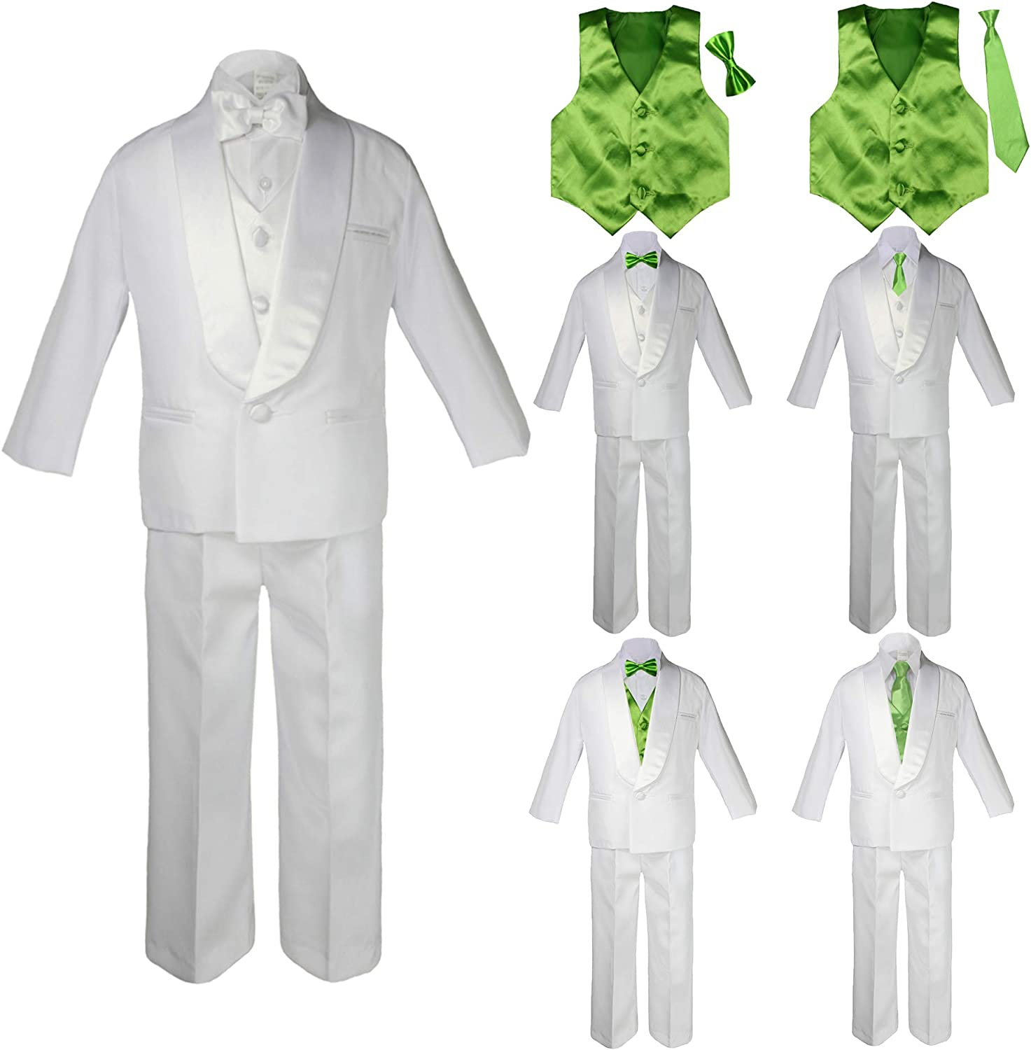 Unotux 4 Pcs Formal Wedding Boy Ivory Satin Vest Bow Tie Set Suit from Baby Teen