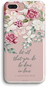 iPhone 8 Plus Case,iPhone 7 Plus Case,Red Pink Roses Pattern Inspirational Scripture Bible Verses Quotes Corinthians Soft Protective Clear Design Case for Women Compatible with iPhone 8 Plus/7 Plus