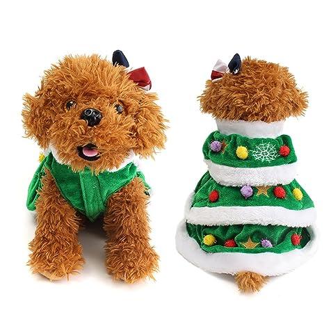 Yunt Árbol de Navidad Disfraz precioso verde Perros Ropa Gatos Ropa Rock Dog Christmas Cosplay Dress