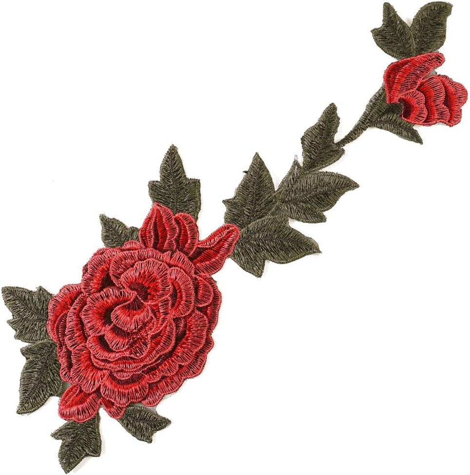 Accent Appliques to Sew or Iron on Shirt//at 2 Red Hat Flower Fabric Appliques