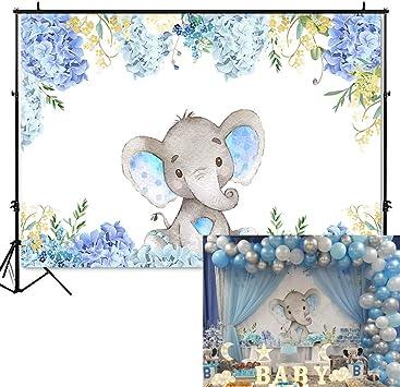 Amazon Com Mehofoto Boy Elephant Baby Shower Backdrop Light Blue Flower Elephant Photography Background 7x5ft Vinyl Elephant Birthday Party Banner Backdrops Camera Photo