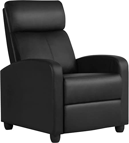 YAHEETECH Recliner Chair PU Leather Recliner Sofa Home Theater Seating
