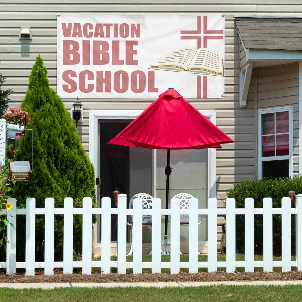 Vinyl Banner Multiple Sizes Vacation Bible School Advertising Printing Hobbies Outdoor Weatherproof Industrial Yard Signs White 10 Grommets 60x144Inches