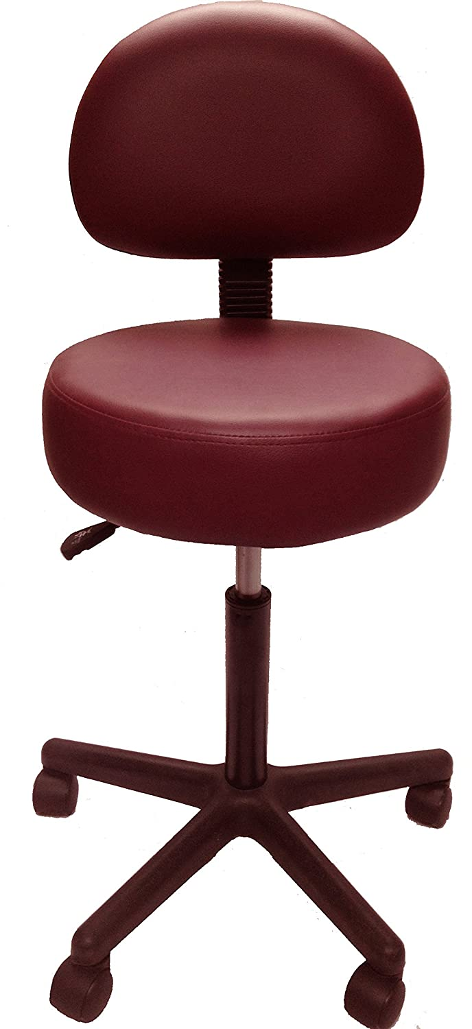 Pneumatic Rolling Adjustable Stool with Removable Backrest (Dark Purple) Clinical Health Services Inc.