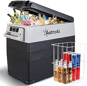 AstroAI 12 Volt Refrigerator 58 Quart Portable Freezer Car Refrigerator 55L(-4?~68?) with 12/24V DC and 110V AC, Compressor Refrigerator for Car, RV, Truck, Van, Camping and Home