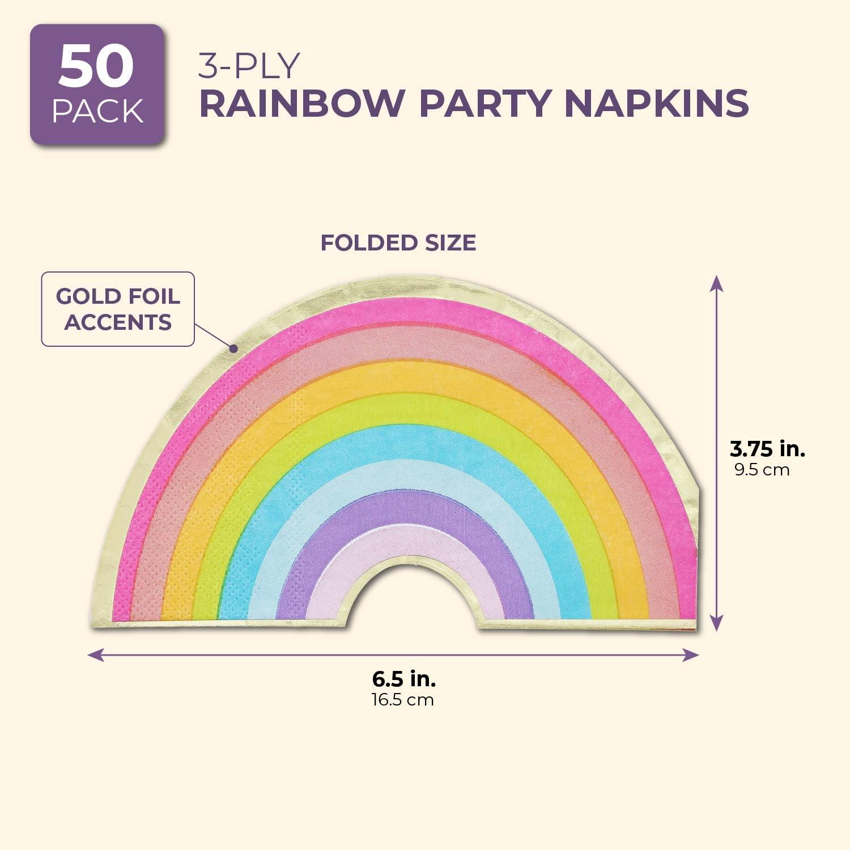 Arcobaleno Juvale Tovaglioli Tagliati Arcobaleno Confezione da 50 6,5 Pollici con Lamina doro