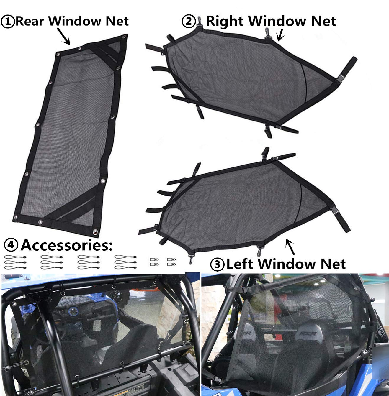 MFC Front Rear Window Net Window Shade Shield Cover for Polaris RZR 1000 900 RZR XP 4 UTV 2015-2018