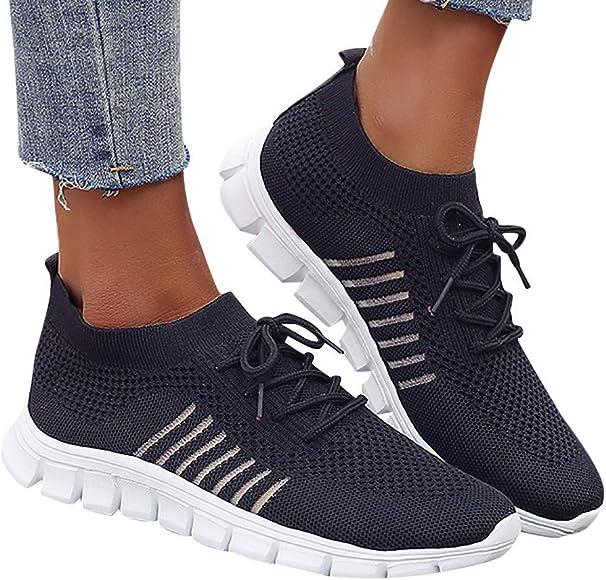 2019 Verano Primavera Zapato Deporte De Malla Transpirable Ligero Zapatillas Sneaker Con Cordones Cruzados Para Mujer Correr Fitness De Talla Grande(Negro, 35 EU): Amazon.es: Zapatos y complementos