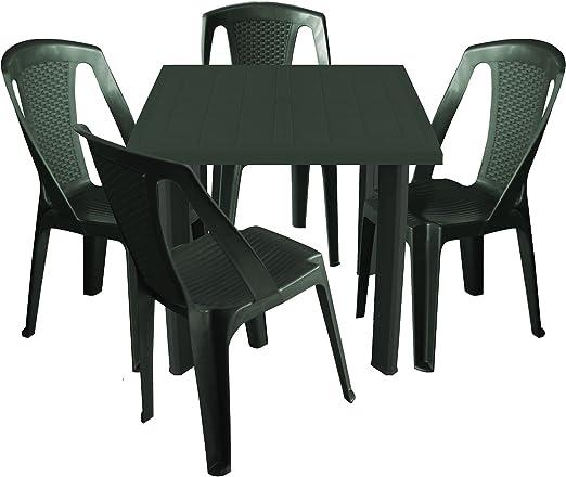 MultiStore 5 piezas. Balcón Muebles de Jardín Mesa plástico 80 x ...