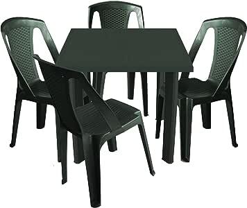 MultiStore 5 piezas. Balcón Muebles de Jardín Mesa plástico 80 x 75 cm + 4 x apilables sillas de jardín en ratán Sillas para – Verde Oscuro: Amazon.es: Jardín