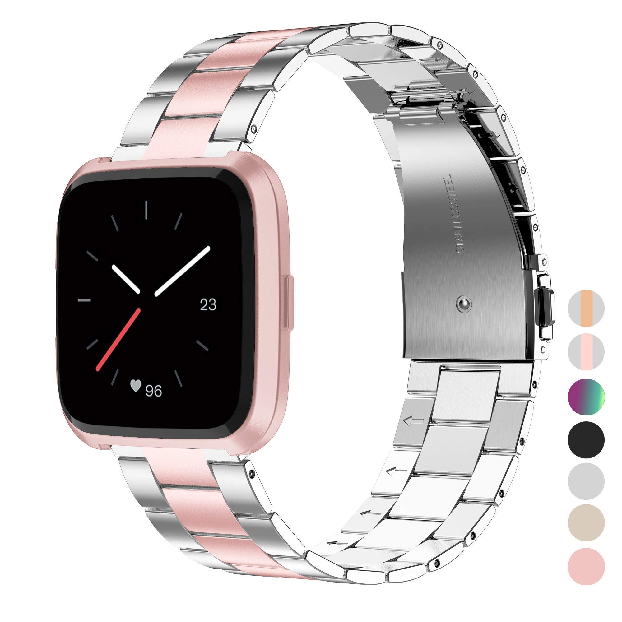 Wearlizer Stainless Steel Band Compatible for Fitbit Versa/Fitbit Versa Lite Bands Women Men,Ultra-Thin Lightweight Replacement Band Strap Bracelet Compatible for Fitbit Versa (Rosegold+Silver)