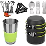 Mokoala Camping Cookware Mess Kit with Mini Stove,Lightweight Pot Tank Bracket Knife Fork Spoon and Stainless Steel Cup for O