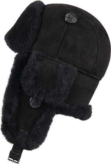 Aviator Bomber Trapper Ushanka Leather Shearling Sheepskin Fur Hat Black-Black