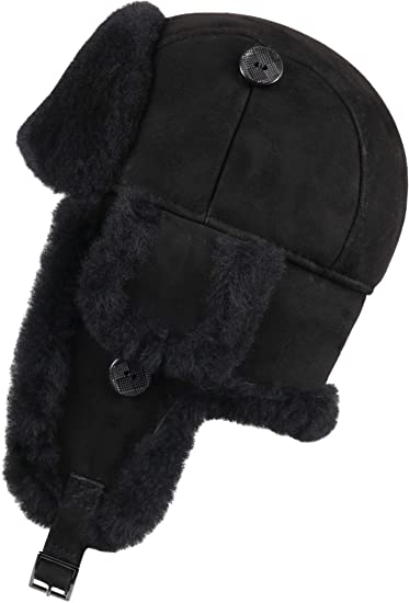 46bdb86fcce Zavelio Trapper Trooper Leather Aviator Bomber Genuine Shearling Sheepskin  Hat Black Suede S