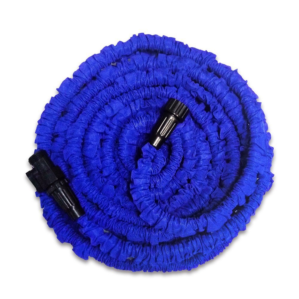 GenLed Garden Hose, 25Ft, Heavy Duty Expanding Water Coil Best Flexible Expandable Retractable Collapsible Shrinking Hoses Strongest Lightweight (Blue)