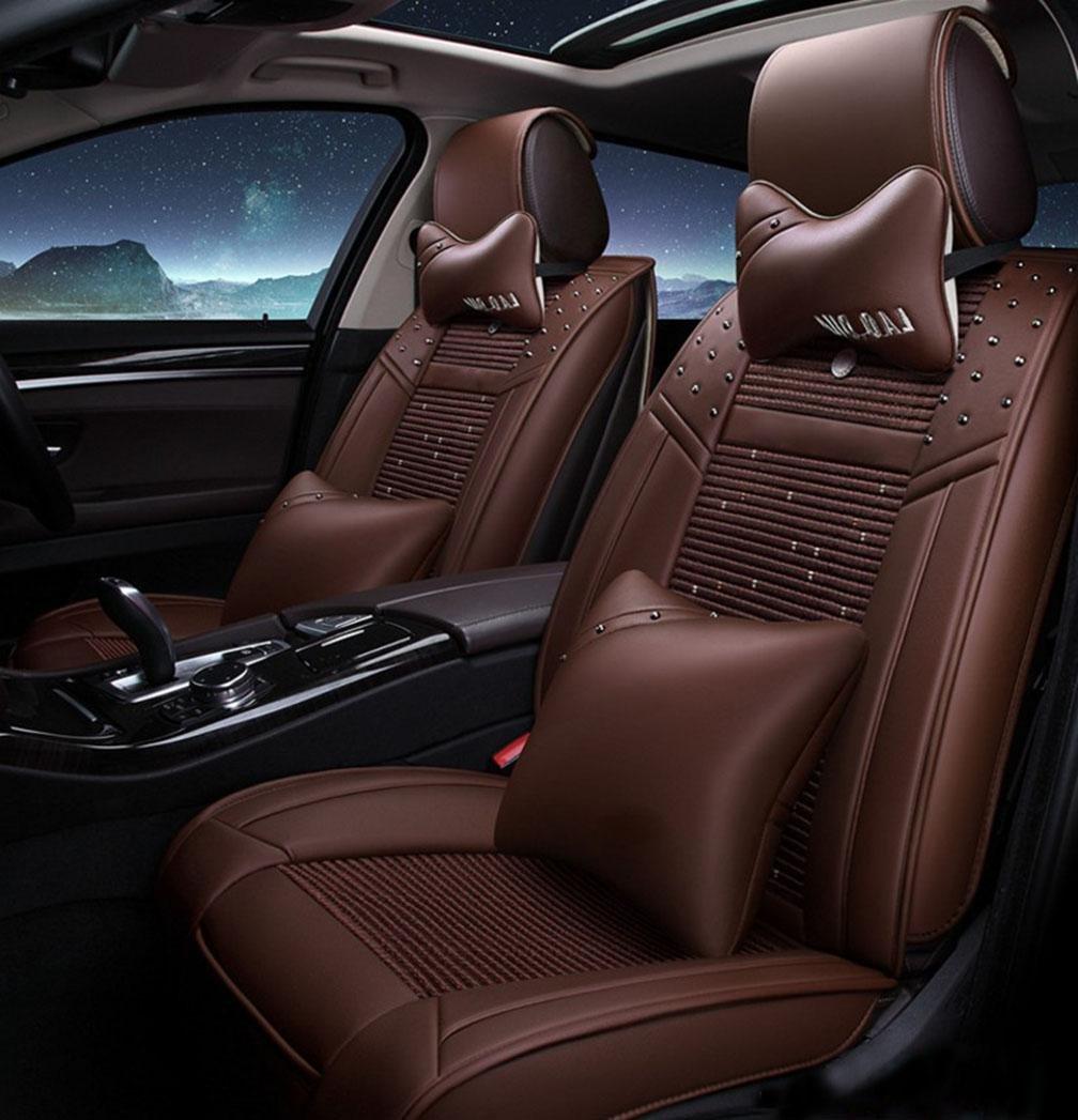 HOMEE@ 3D Ice Silk Cushion Full Of Four Seasons Car Cushion Leather Cushion , Brown,Brown