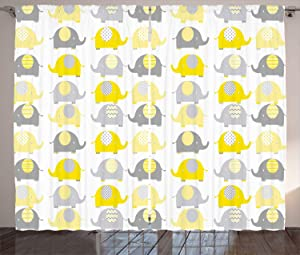 "Ambesonne Nursery Curtains, Yellow and Grey Elephant Cartoon Animals with Different Patterns Fauna, Living Room Bedroom Window Drapes 2 Panel Set, 108"" X 84"", Yellow Grey"