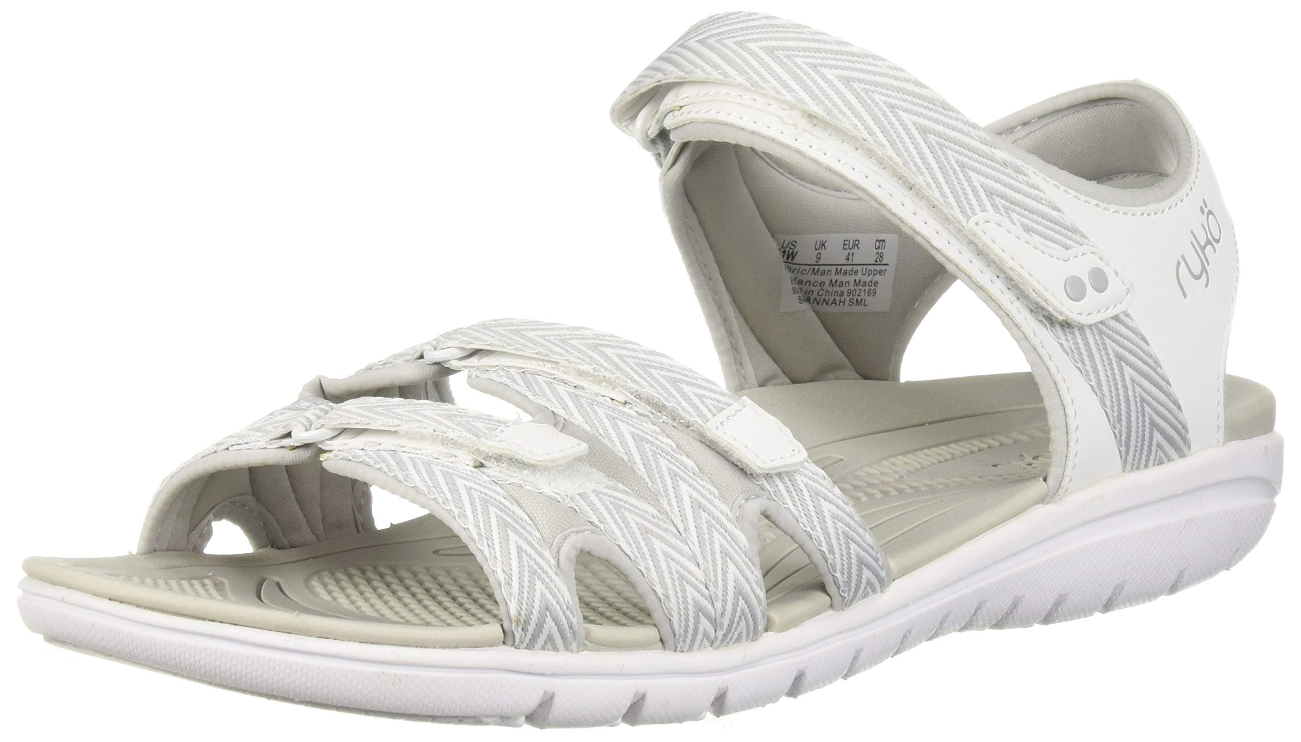 Ryka Women's Savannah Sandal, White/Grey, 5 W US
