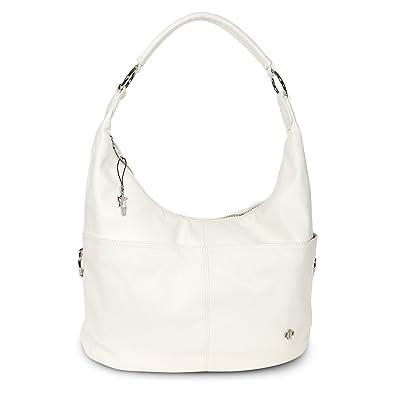 8d82e074b2ec3 DrachenLeder Beuteltasche weiß Kunstleder Hobo Bag Damen Schultertasche  Jennifer Jones OTJ124W