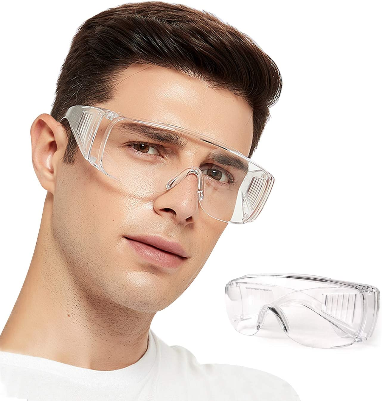 DJM 4.0 Safety Glasses Over Glasses Goggles Protective Eyewear for Work - Anti Fog Shooting Glasses Eye Protection with Clear Vision, Scratch & UV Resistant Safety Glasses for Men Women Lab Clear