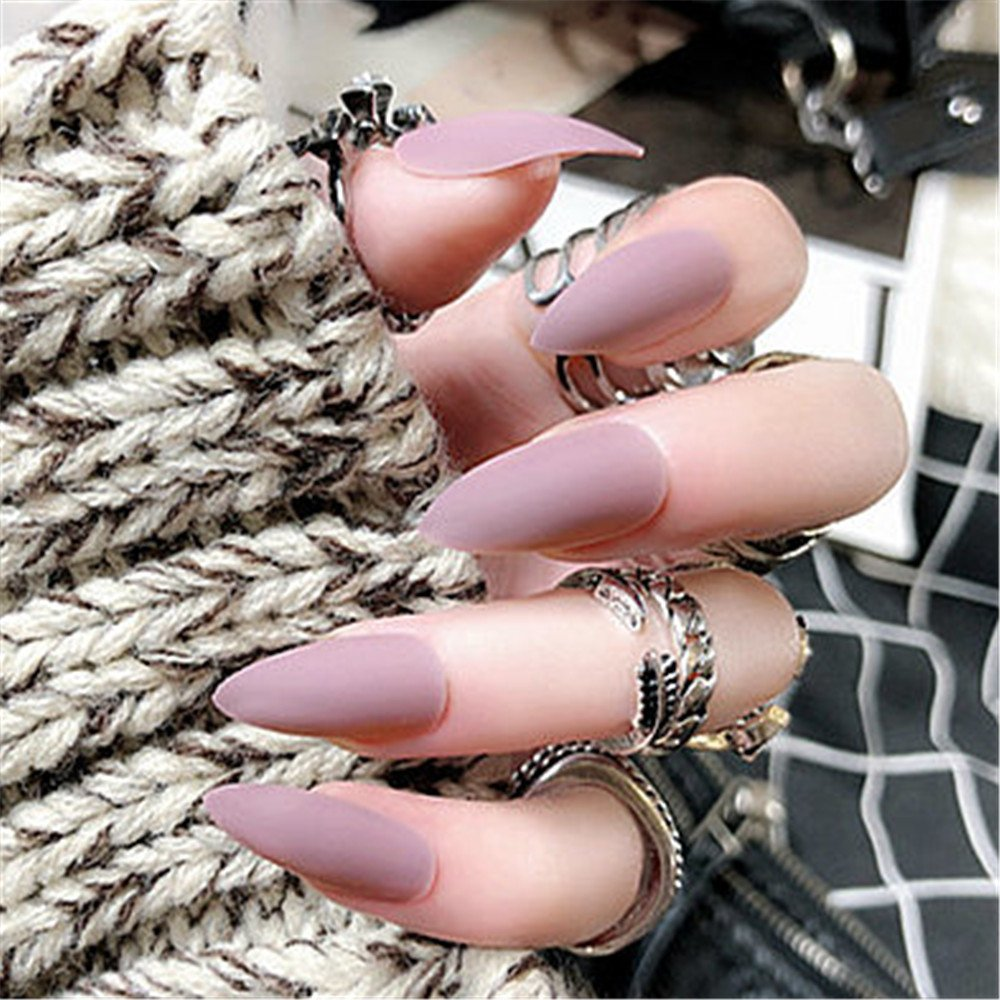 Amazon.com : BloomingBoom 24 Pcs 12 Size Stiletto Pointed False Nail Matte Full Cover Fake Nail Press on Salon Pre Design Women Claw Mountain Peak Mist Red ...