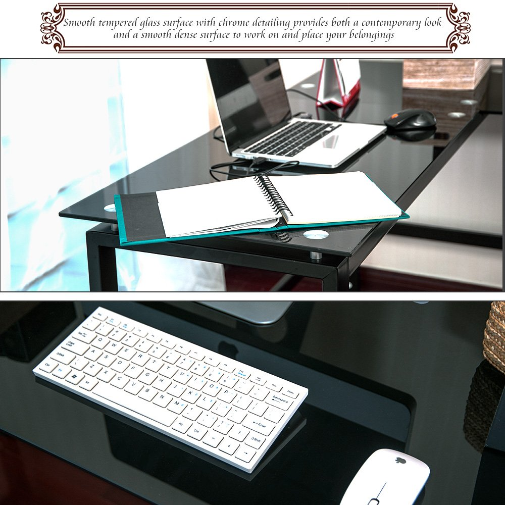 Amazon.com: Merax L Shape Home Office Corner Computer Desk PC Laptop Table  Workstation With Glass Top: Office Products