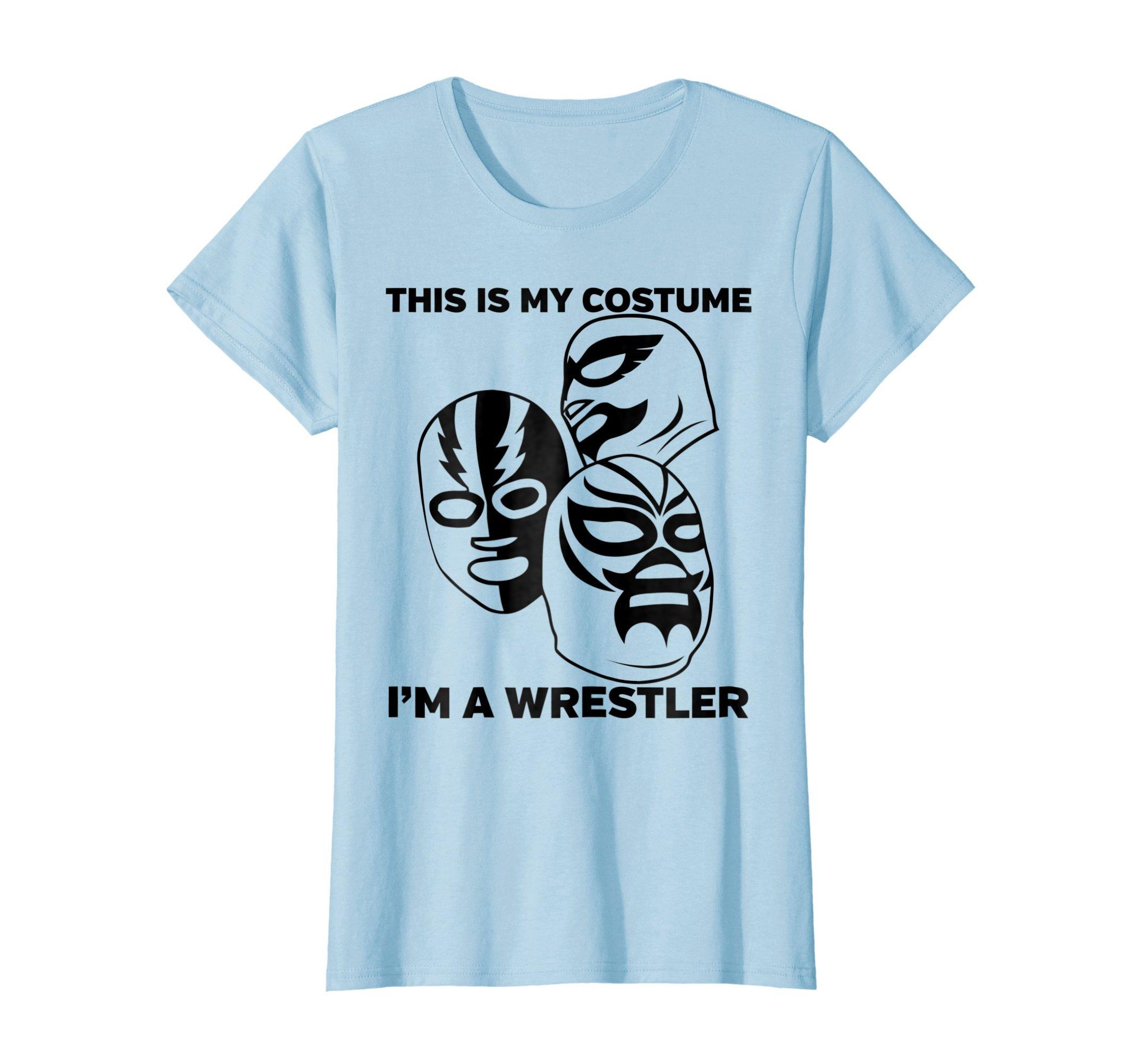 Womens Wrestler Halloween Costume Tshirt Medium Baby Blue by Wrestling Fans Tee Shirts