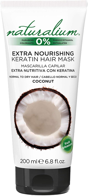 Naturalium Mascarilla Capilar Coco - Mascarilla Extra Nutritiva con Keratina para Cabello Normal y Seco, Sin Colorantes, Sin Parabenos, 200 ml