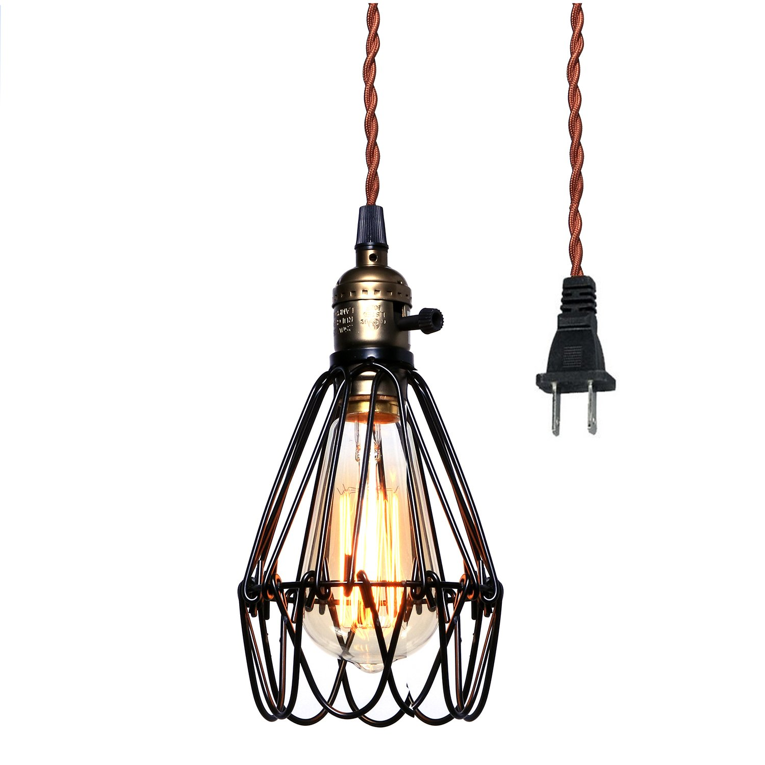 Pauwer Vintage Pendant Light, Wire Cage Lamp Plug-in Edison Pendant Light Cage with On/Off Switch