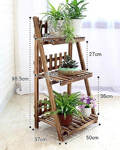 LBMhua Bastidores de Flores de Madera/Bastidores de Plantas de Interior y al Aire Libre/Jardineras de múltiples Capas/Escalera de Escalera 3F / Soporte de exhibición de Flores Tipo Piso: Amazon.es: Hogar