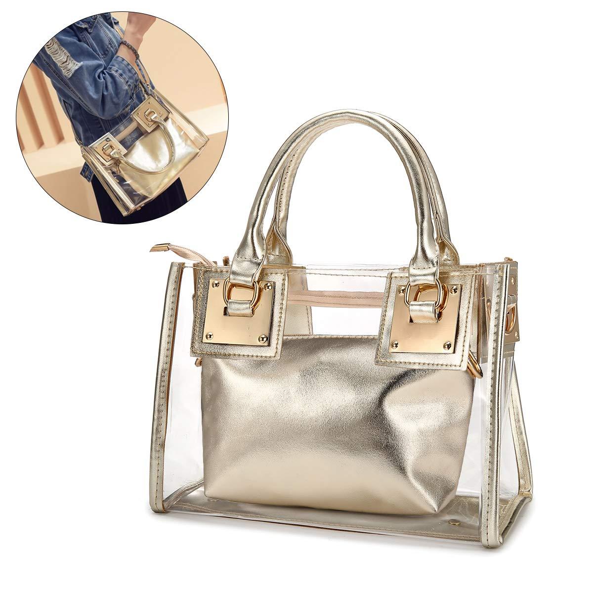 Clear Crossbody Handbags, OURBAG Fashion Women's Waterproof Clear Handbag Top Handle Shoulder Bag Transparent Purse OURBAGDrseewd3604