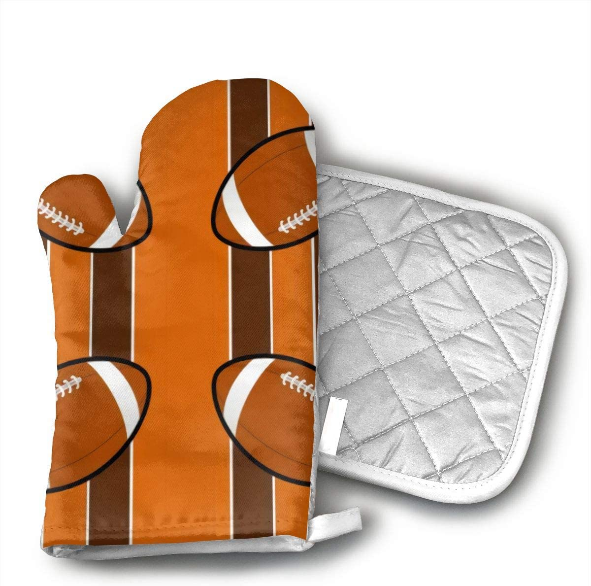CHFSTi Oven Mitts Cleveland Browns Fabric Non-Slip Silicone Oven Mitts& Pot Holders, Heat Resistant to 500Fahrenheit Degrees Kitchen Oven Gloves
