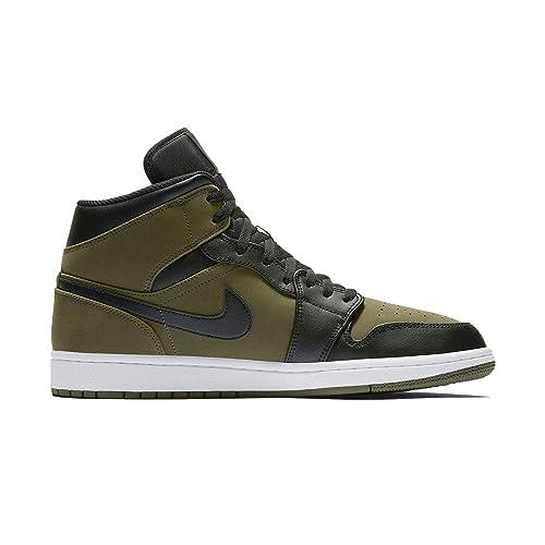 93277c821599d NIKE Air Jordan 1 Mid OLIVECANVAS Black White  Amazon.it  Scarpe e borse
