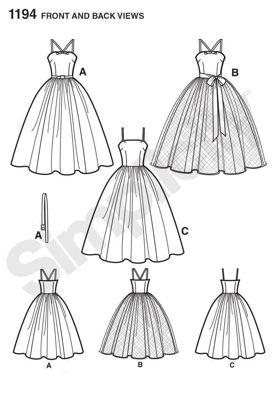 Simplicity 1194/Taille R5/14//16//18//20//55,9/cm Tailles et Miss Petite Robe Vintage Patron de Couture