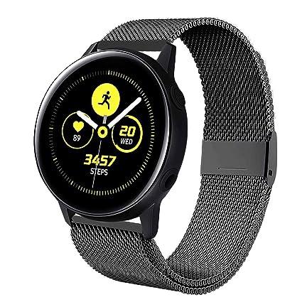 Smartwatch Armband edelstahl schwarz Magnet-Loop für Samsung Gear Sport SM-R600