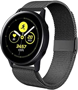 Kartice Compatible with Samsung Galaxy Watch Active (40mm) Bands Active2 (44mm) Band, 20mm Stainless Steel Strap for Galaxy Watch Active 2 (Black)