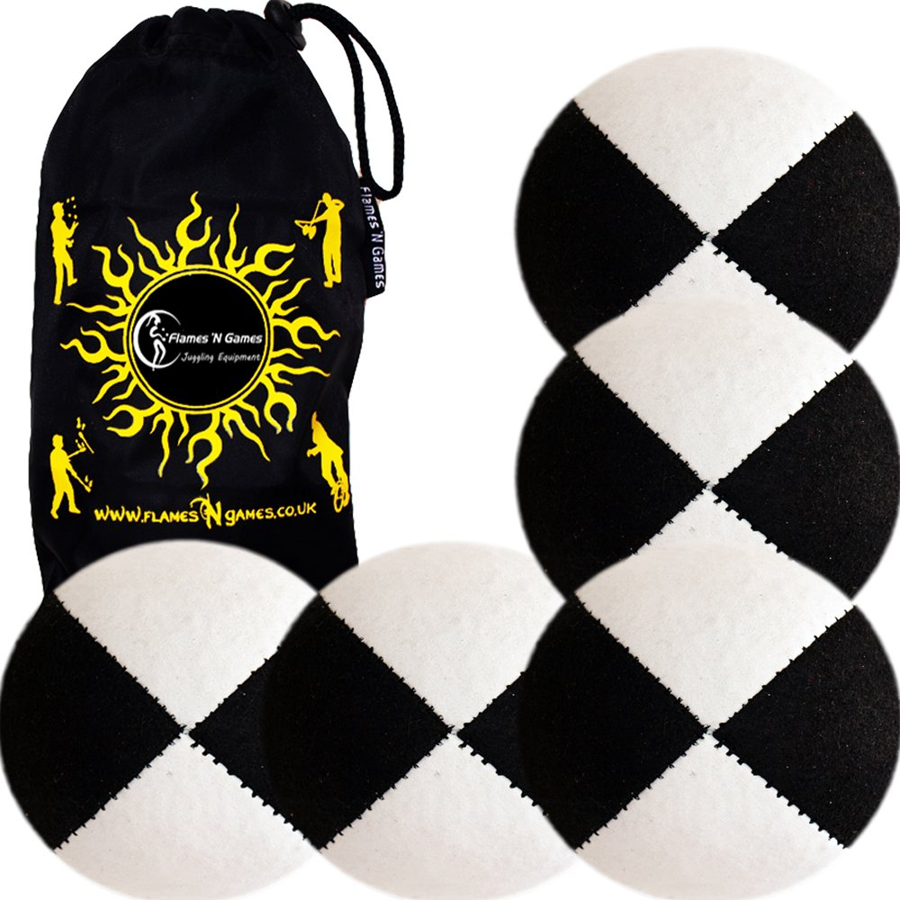 5x Pro Thud Juggling Balls - Deluxe (SUEDE) Professional Juggling Ball Set of 5 with Fabric Travel Bag! (Black/White) by Flames N Games Juggling Ball Sets