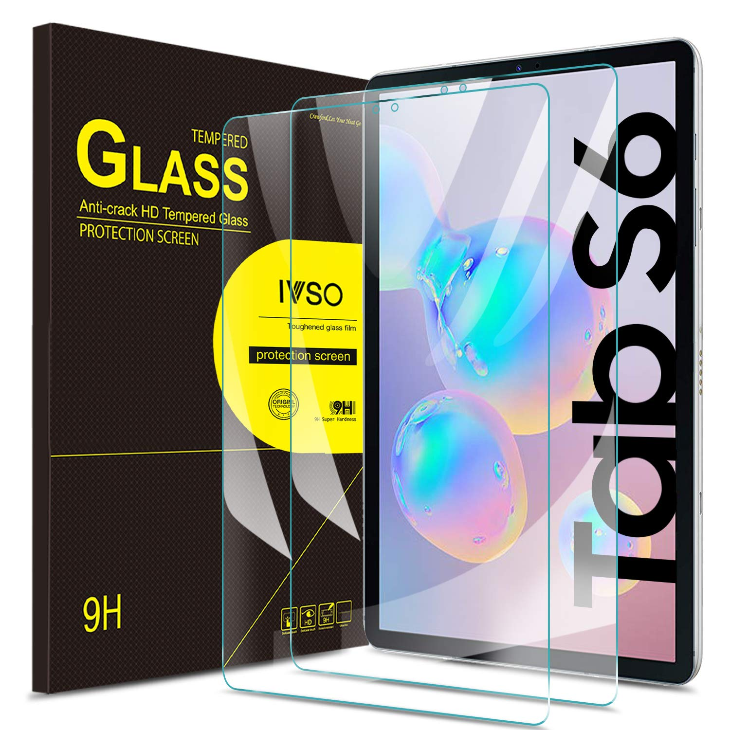 IVSO Screen Protector for Samsung Galaxy Tab S6 10.5 / Samsung Galaxy Tab S5e, Clear Tempered-Glass Flim Screen Protector for Samsung Galaxy Tab S6 SM-T860/T865 10.5 2019, 2 Pack