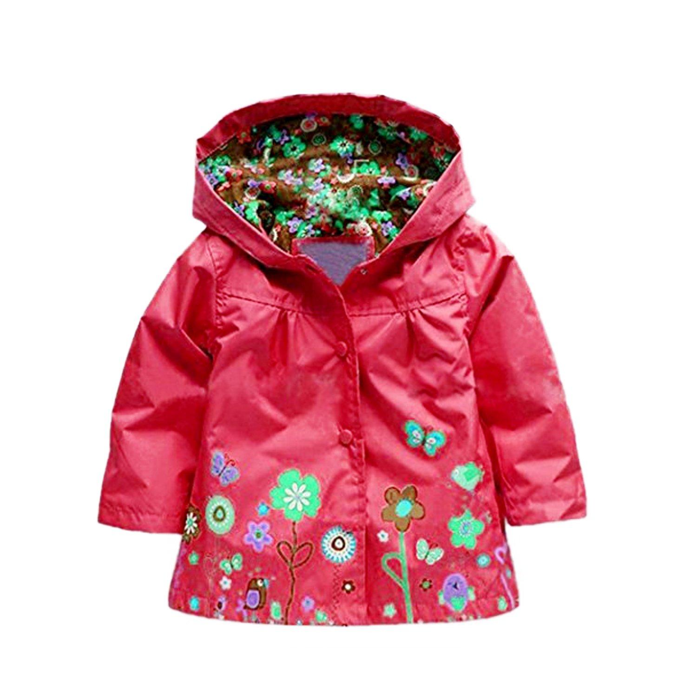 jingjing1 Cute Kids Girls Raincoat,Flower Hooded Long Sleeve Waterproof Raincoat Jacket Outwear Tops