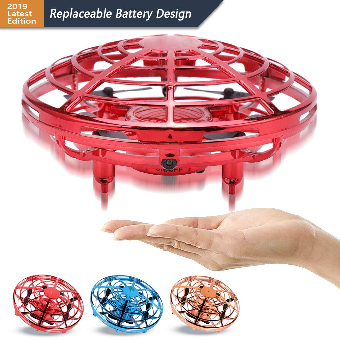 AURISON Flying Ball Drones, Hand-Controlled Drone Quadcopter Flying Toys Interactive Infrared Induction Helicopter Ball with 360°Rotating and Flashing LED Lights for Kids or Adults Gifts(Red)
