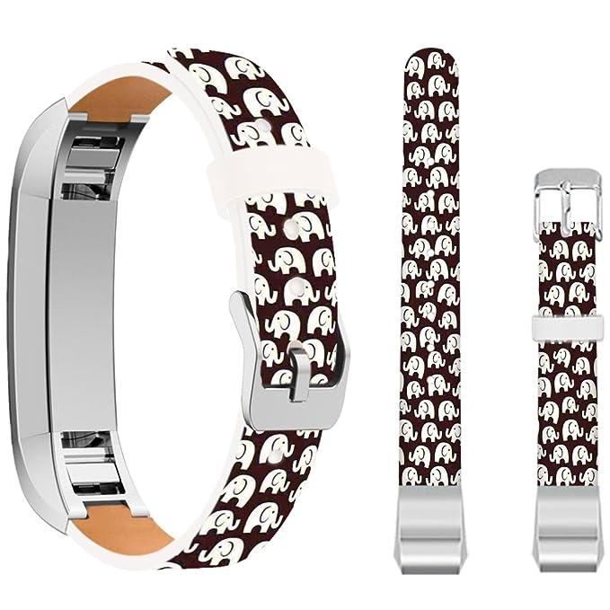 for Fitbit Alta Band Elephant,Ecute Leather Replacement Bands Strap for  Fitbit Alta/for Fitbit ALTA HR Watch - Many Cute Little Elephants