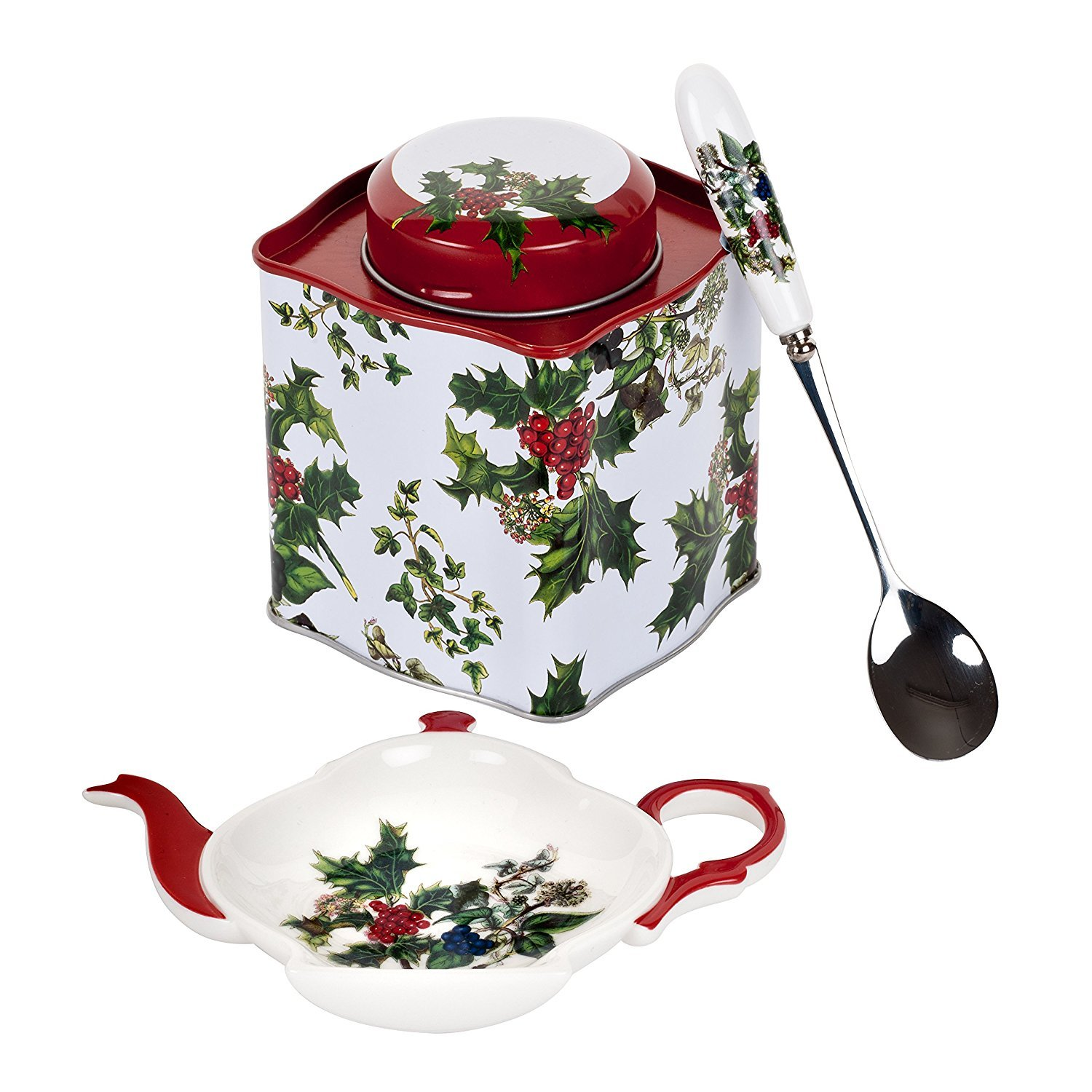 Pimpernel Holly & The Ivy 3-pc Tea Set (Spoon Rest, Spoon & Tin Caddy) by Pimpernel