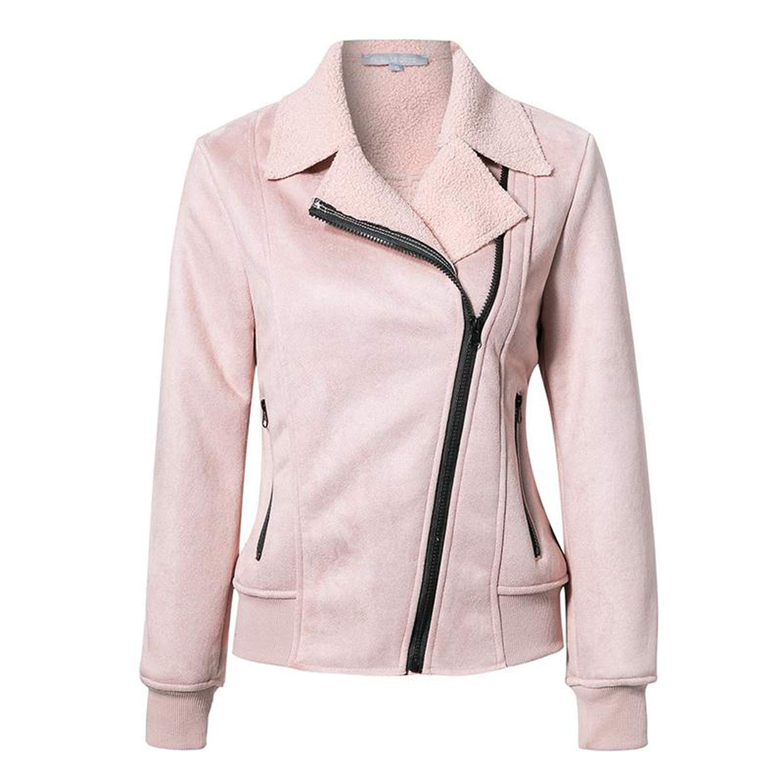 caihonghon Parkas Jackets Zipper Pocket Women's Padded Coats Autumn Winter Outerwear Slim Coats,Pink,L by caihonghon (Image #1)