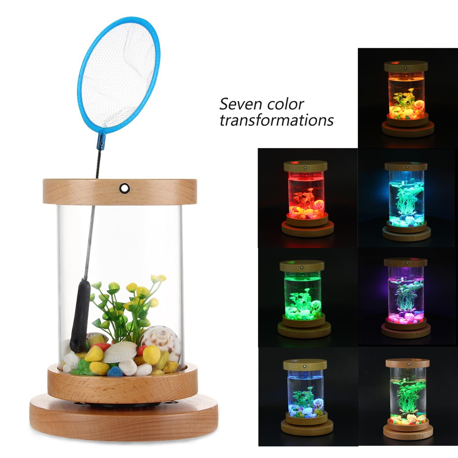 Small Mini LED Fish Aquarium Kits,Panoramic Betta Fish Tank with Low Radiation Energy-Saving Soothing Light.